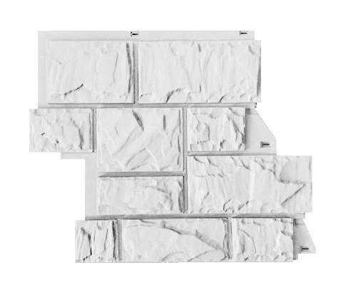 Fasadnye paneli CANADARIDGE faktura Tesanyj kamen 525 x 645 mm belyj