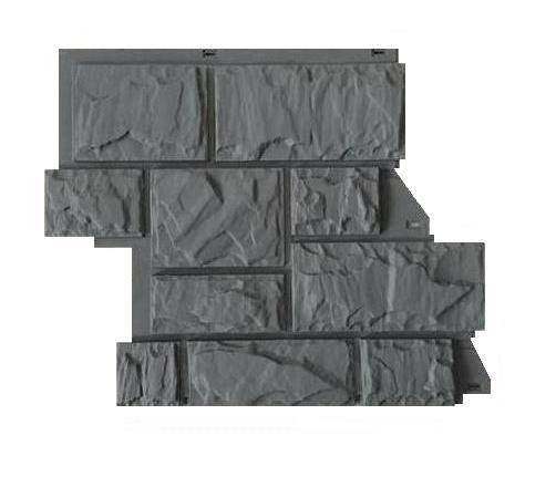 Fasadnye paneli Canadaridge faktura tesanyj kamen tsvet temno seryj