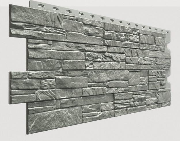 Fasadnye paneli Docke kollektsiya Stein polipropilen tsvet Bazalt