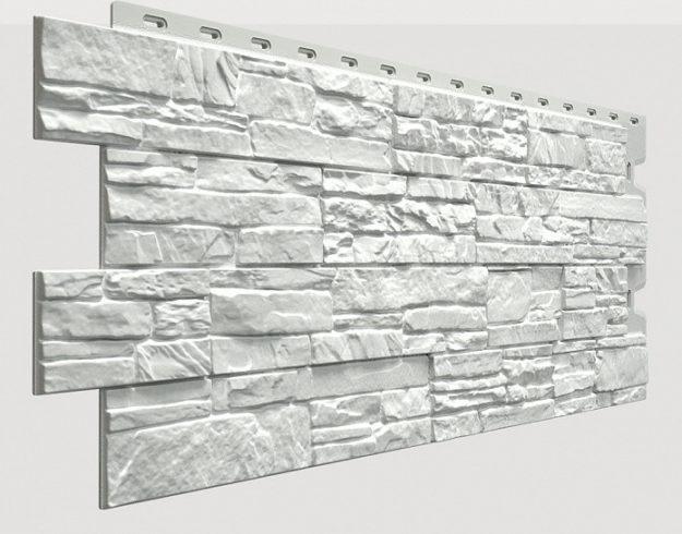 Fasadnye paneli Docke kollektsiya Stein polipropilen tsvet Molochnyj