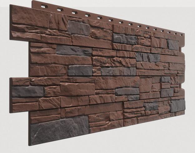Fasadnye paneli Docke kollektsiya Stein polipropilen tsvet Temnyj oreh