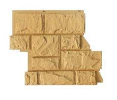 Цокольный сайдинг CANADARIDGE фактура «Тесаный камень» 525×645 мм, кремовый