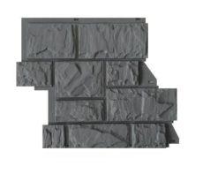 Цокольный сайдинг CANADARIDGE фактура «Тесаный камень», темно-серый