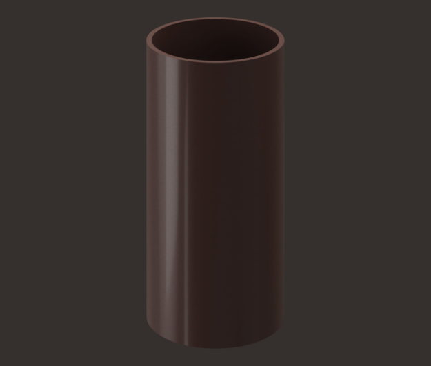 Truba vodostochnaya 1 m Docke dlya krovli seriya Lux tsvet SHokoladGrafit
