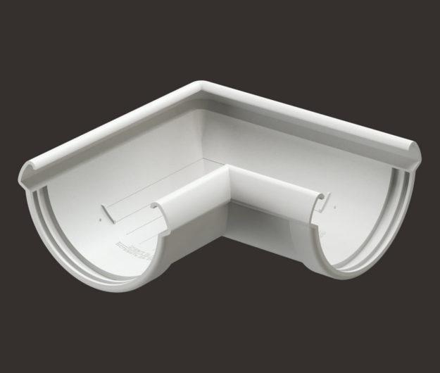 Uglovoj element vodostoka 90 Docke dlya krovli seriya Lux tsvet Plombir
