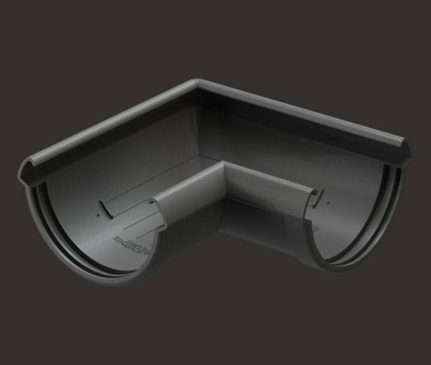 Uglovoj element vodostoka 90 Docke dlya krovli seriya Lux tsvet SHokoladGra 1