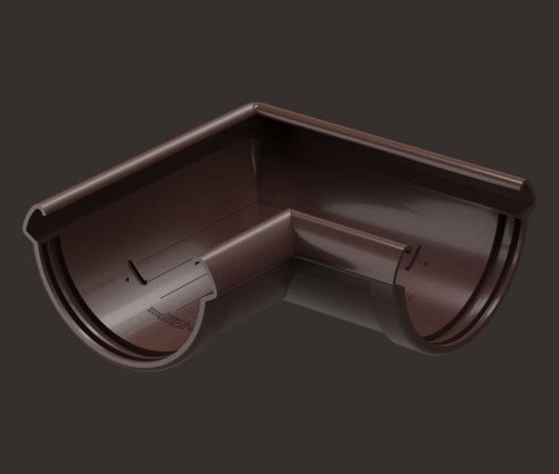 Uglovoj element vodostoka 90 Docke dlya krovli seriya Lux tsvet SHokoladGra