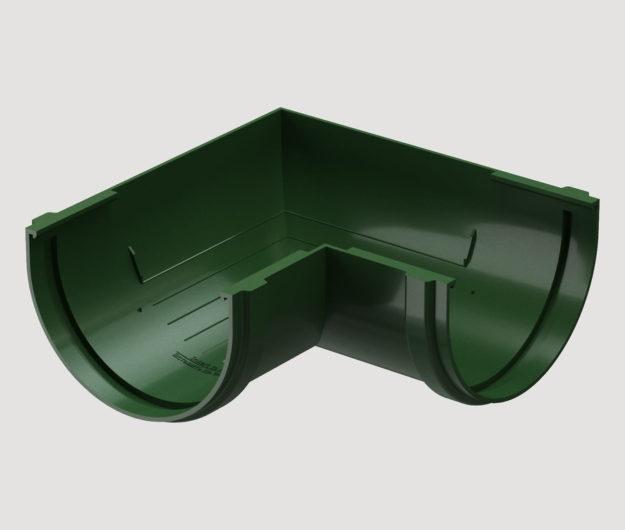 Uglovoj element vodostoka 90 Docke dlya krovli seriya Standart tsvet Zeleny